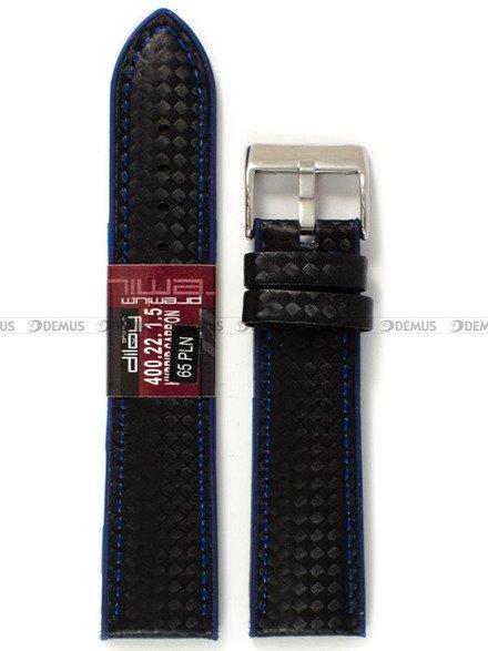 Pasek silikonowo-karbonowy do zegarka - Diloy 400.22.1.5 - 22 mm