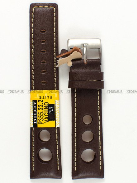 Pasek skórzany do zegarka - Diloy P355.22.2 - 22 mm