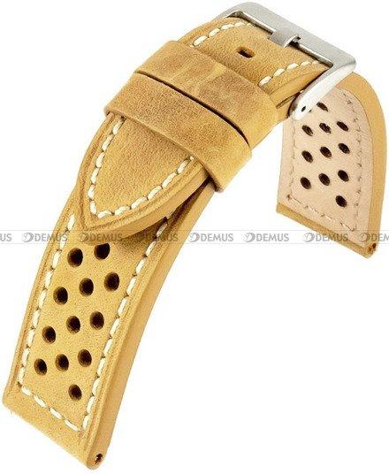 Pasek skórzany do zegarka - Horido 9618.03.22S - biała nić - 22 mm