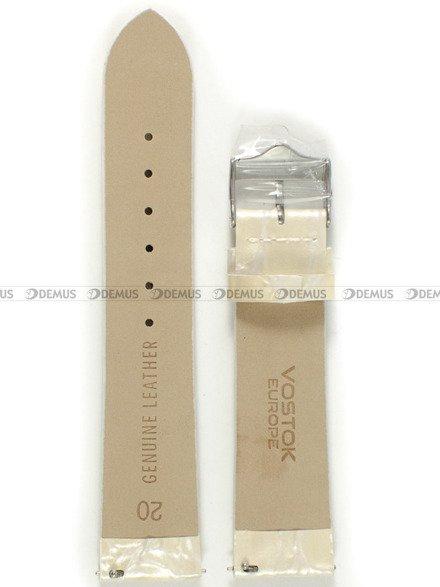 Pasek skórzany do zegarka Vostok Rocket N-1 Lady YT57-2235162 - 20 mm biały perłowy