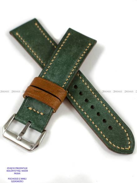 Pasek skórzany ręcznie robiony A. Kucharski Leather - Conceria Il Ponte Maya Double - darkgreen/camel 18 mm