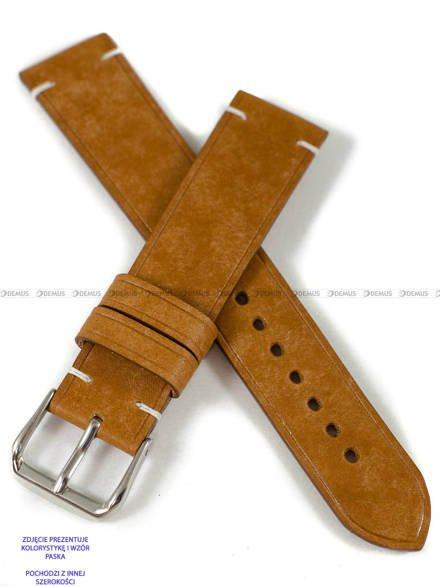 Pasek skórzany ręcznie robiony A. Kucharski Leather - Conceria Il Ponte Maya Simple - cognac/white 22 mm