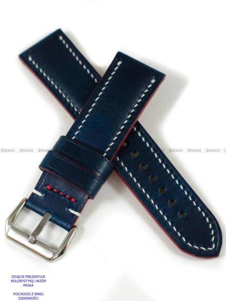 Pasek skórzany ręcznie robiony A. Kucharski Leather - Conceria Walpier Buttero - blue/white 16 mm