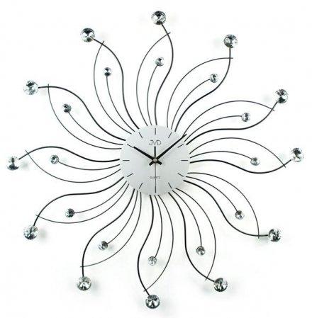 Zegar ścienny JVD HJ27 metalowy z elementami dekoracyjnymi i kryształowymi kamyczkami
