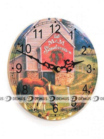 Zegar ścienny drewniany z konikami ZEG177