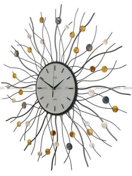 Zegar ścienny metalowy z elementami dekoracyjnymi w postaci kolorowych kamyczków HJ02