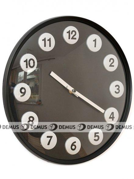 Zegar ścienny plastikowy czarny czarne cyfry FX6126-BLACK