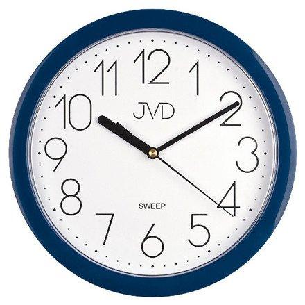 Zegar ścienny plastikowy niebieska obudowa biała tarcza czarne cyfry HP612.17