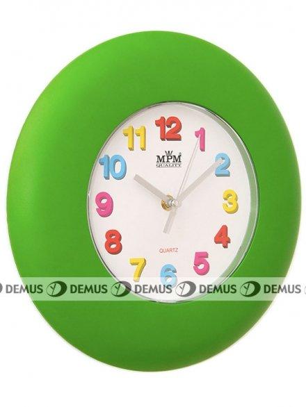 Zegar ścienny plastikowy zielona obudowa kolorowe cyfry E01.2809.40