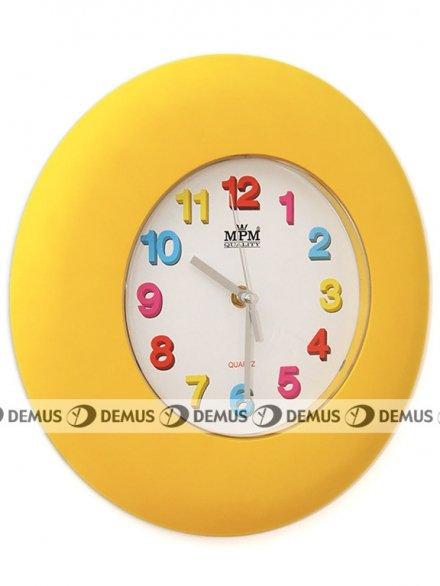 Zegar ścienny plastikowy żółta obudowa kolorowe cyfry E01.2809.10