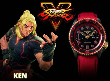 "Zegarek Męski Seiko Street Fighter ""KEN - Rush 'n' Blaze"" SRPF20K1 - Limitowana edycja"