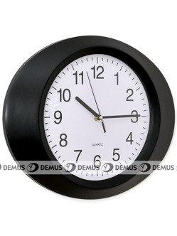 Zegar ścienny plastikowy owalny czarna obudowa biała tarcza E01.2635.90